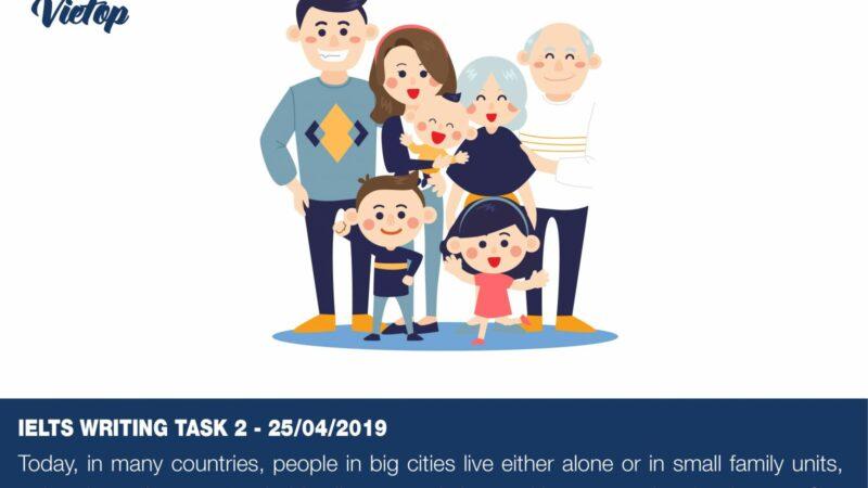 Samle Essay đề thi IELTS Writing Task 2 ngày 25/04/2019