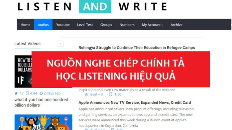 Nguồn website luyện nghe chép chính tả Tiếng Anh hiệu quả