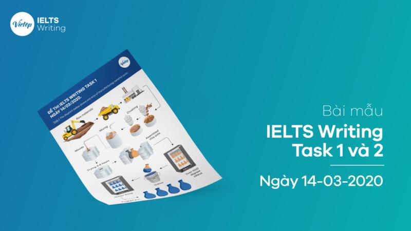 Bài mẫu IELTS Writing Task 1 và 2 ngày 14-03-2020