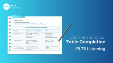 Cách làm dạng bài Table Completion - IELTS Listening