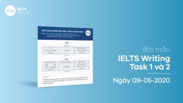 Bài mẫu IELTS Writing Task 1 và 2 ngày 09/05/2020