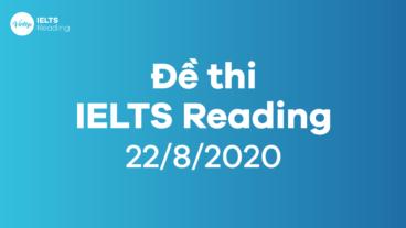 Đề thi IELTS Reading ngày 22/8/2020