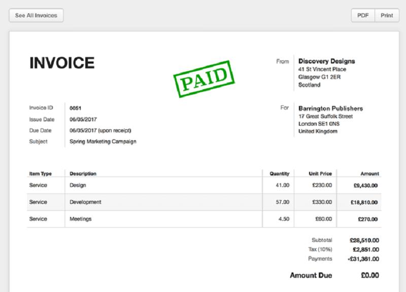 invoice: hóa đơn