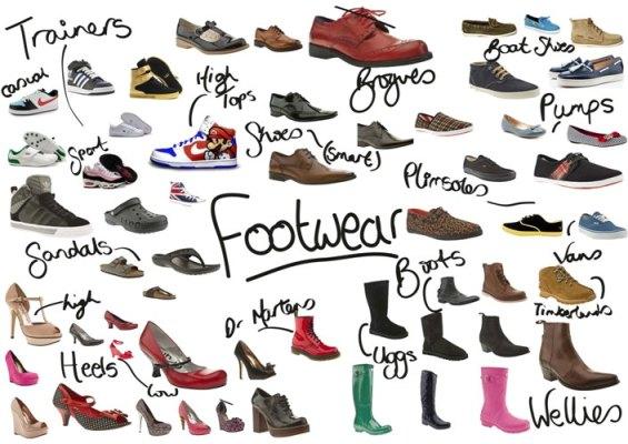 Từ vựng tiếng Anh các loại giày