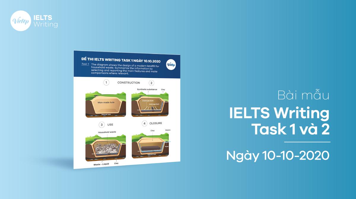Bài mẫu IELTS Writing Task 1 và 2 ngày 10-10-2020