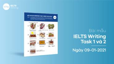 Bài mẫu IELTS Writing Task 1 và 2 ngày 09-01-2021
