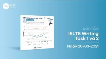 Bài mẫu IELTS Writing task 1 và 2 ngày 20-03-2021