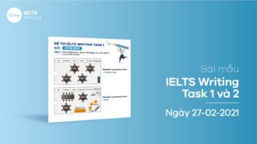 Bài mẫu IELTS Writing task 1 và 2 ngày 27-02-2021