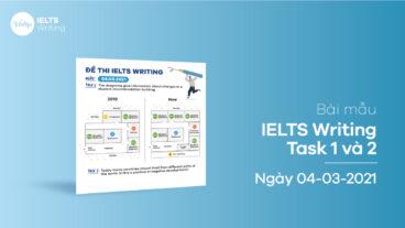 Bài mẫu IELTS Writing task 1 và 2 ngày 04-03-2021