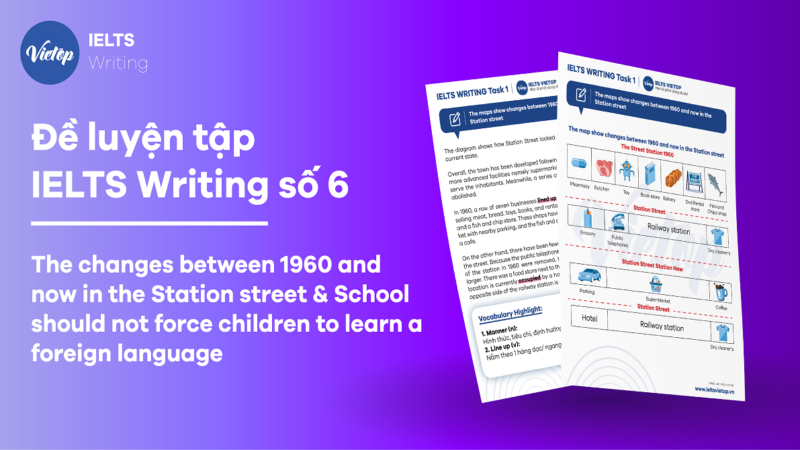 """Đề luyện tập IELTS Writing số 6: """" The changes between 1960 and now in the Station street & School should not force children to learn a foreign language"""""""